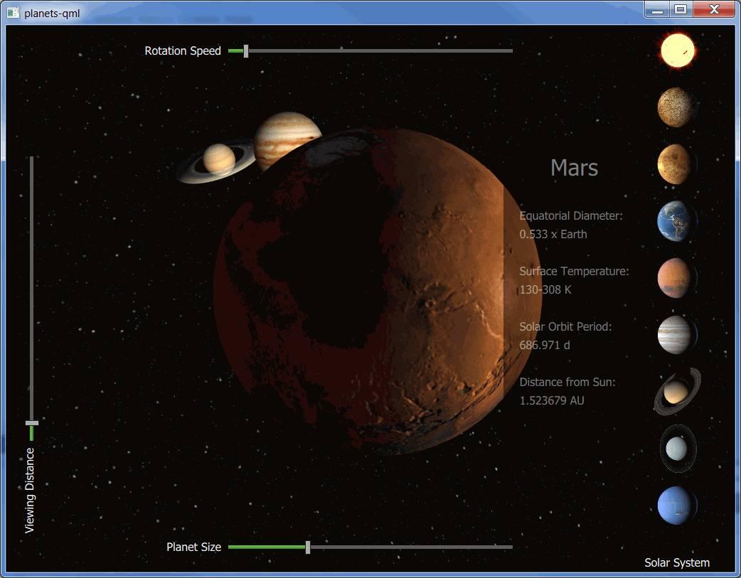 Qt 3D: Planets QML Example | Qt 3D 5 7