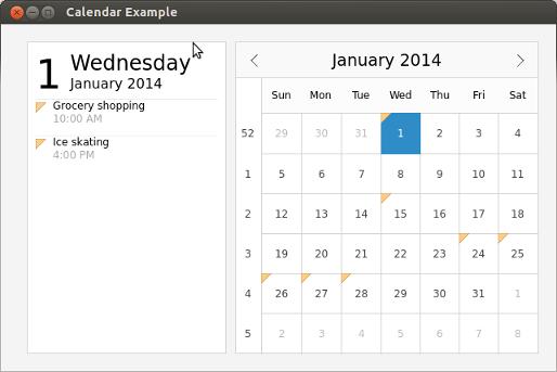 Qt Quick Controls - Calendar Example | Qt Quick Controls 5 7