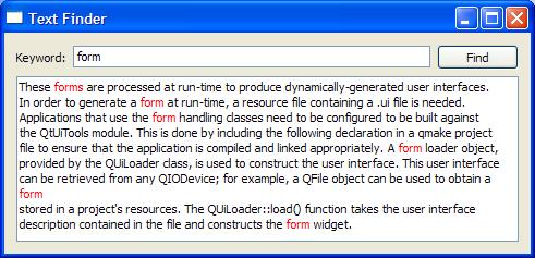 Text Finder Example | Qt UI Tools 5 7
