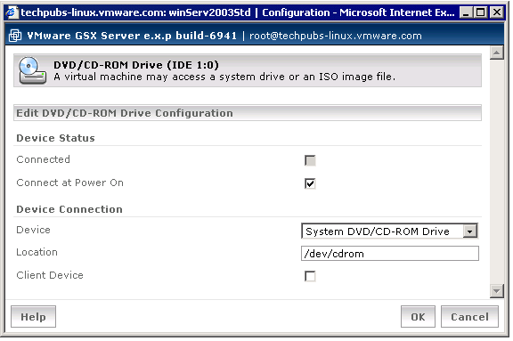 Configuring Virtual DVD-ROM and CD-ROM Drives