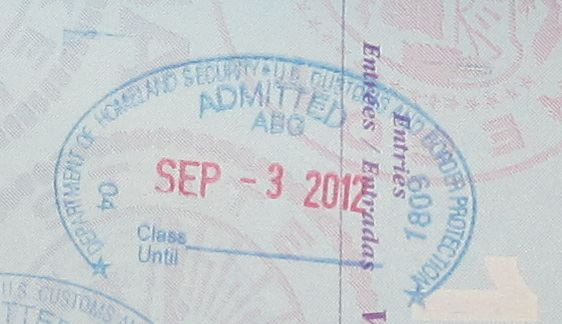US Entry Passport Stamps