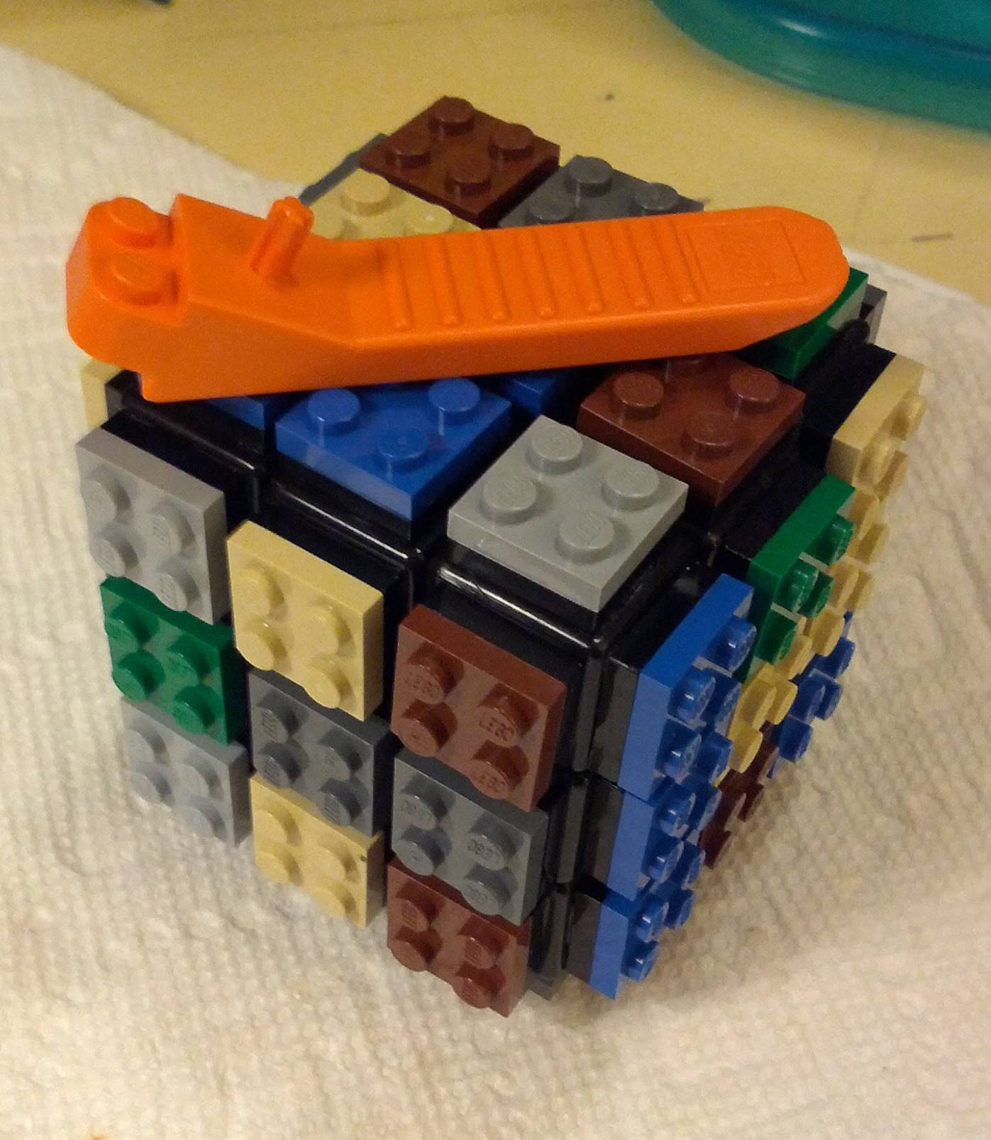 lego cube scrambled with brick separator
