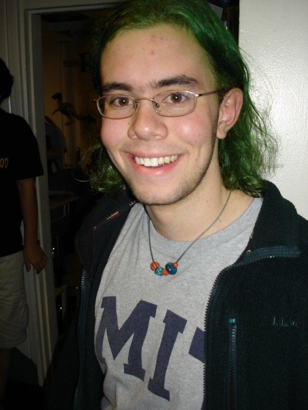 legendary Sexy Nerd Bot, who had died his hair green just hours earlier.
